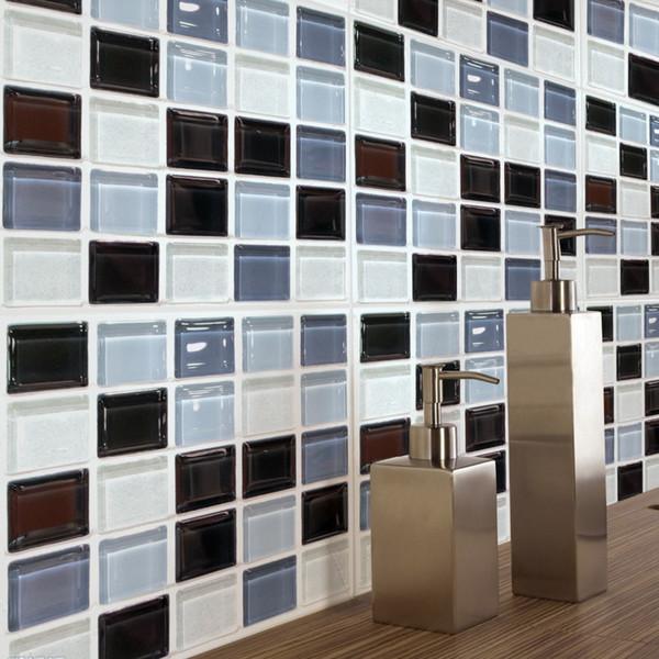 Großhandel 3D Mosaik Kristall Edelstein Fliesen Boden Wandaufkleber 20 * 20  Cm * 6 Stücke Küche Badezimmer Dekoration Poster Taille Linie Vinyl ...
