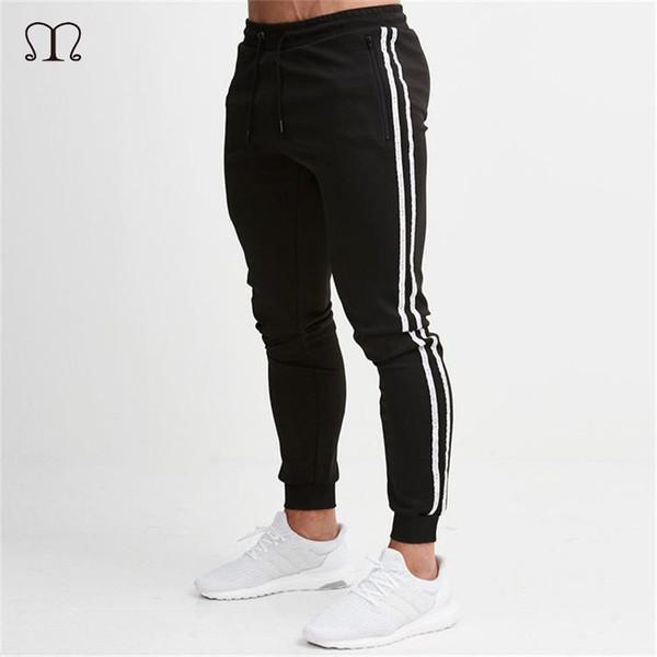 2019 Slim Fit Pant Мужские мышцы Фитнес Брюки Бег Бодибилдинг Брюки Мужчины Прямые Stretch Тощий Joggers Sweatpant мужские