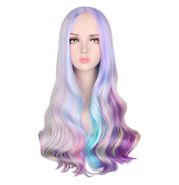 Rainbow Colorful Long Wavy Wig Cosplay Party Women Heat Resistant Synthetic Hair Wigs