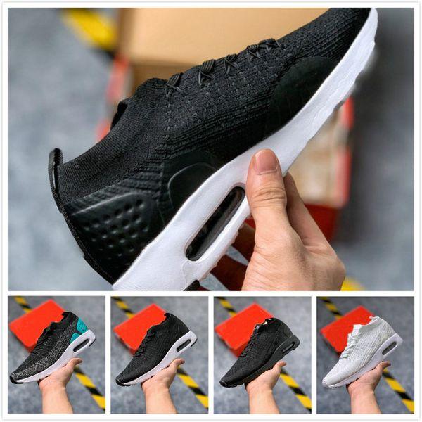 Nuevo Unisex 2019 Zapatos para correr Moda para hombre Blanco negro gris Zapatillas de deporte para hombre Chaussures deportivos Amortiguación para mujer Zapatillas de punto con mosca 36-45