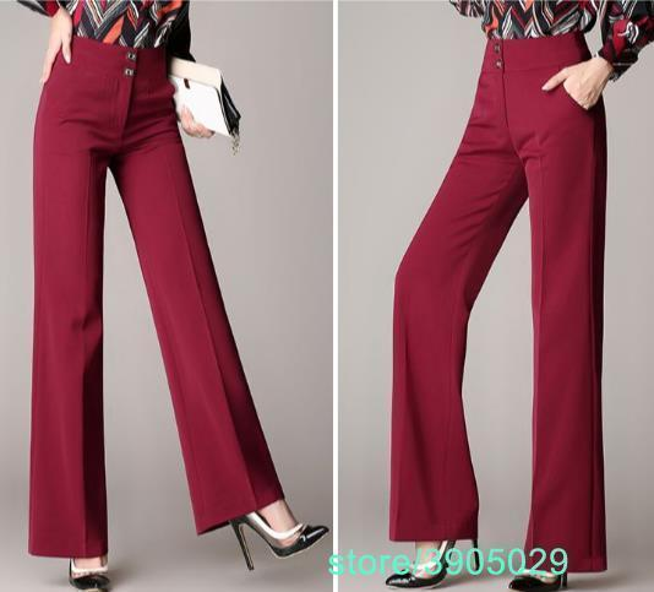 Women linen office work trousers plus size 4XL ladies wide leg pants female soft long formal trousers black red blue Z788