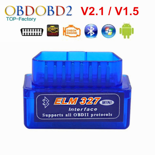 Super Mini Bluetooth ELM327 V2.1 / V1.5 OBD2 Ferramenta de Diagnóstico Do Carro ELM 327 Bluetooth Para Android / Symbian Para OBDII protocolo