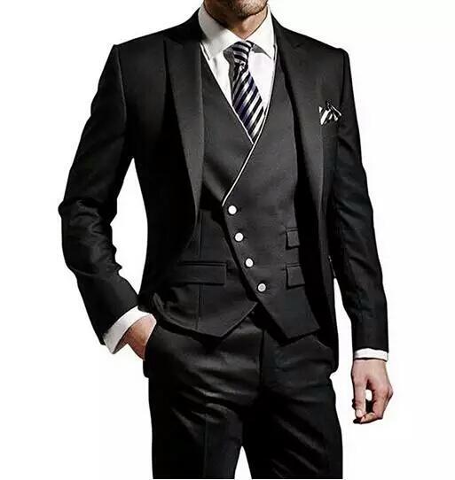 bf0d8a3c4fdd8 Siyah ve Beyaz Erkekler Düğün Takım Elbise Damat Smokin İtalyan Kostüm  Homme Mariage Groomsmen Adam Blazers Ceket 3 Adet Slim Fit Terno Masculino
