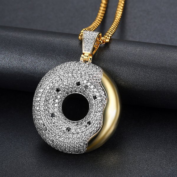 Hip Hop Men Women Gold Color Plated With Full Zircon Swimming Ring Pendants Necklaces Bling Crystal Chains Vogue Jewelry
