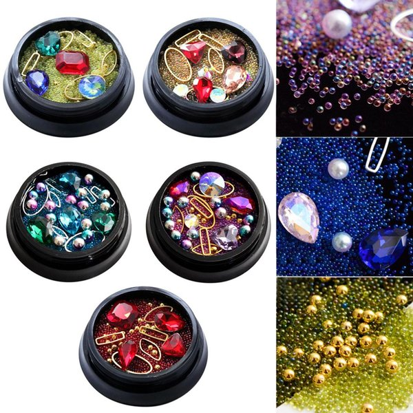 Caviar mixed diamond rhinestone shiny nail sticker 3D decorative flat rivet accessories mixed colorful hollow alloy frame
