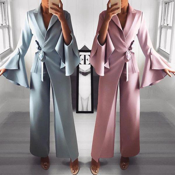 2019 Spring Irregular Flared Sleeve Long Jumpsuits 3 Colors Knot Side Wide Leg Jumpsuit T5190614
