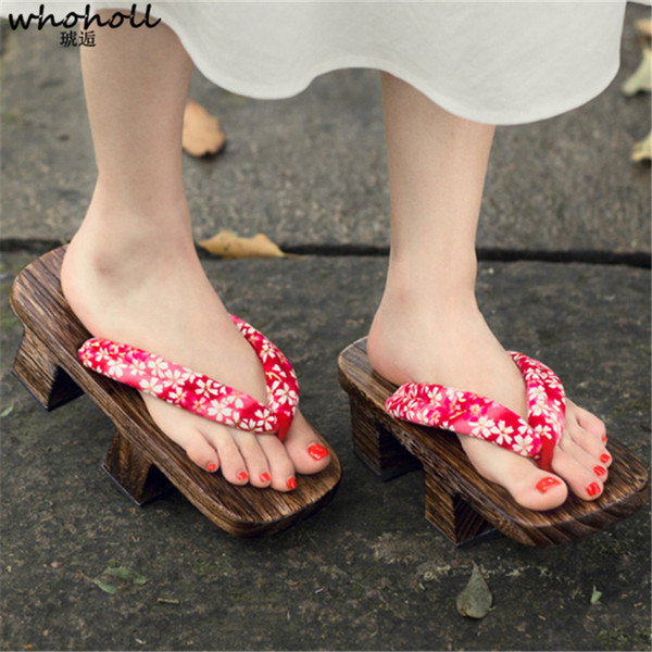 Whoholl Wooden Geta Slippers Women Sandals Two-teeth Japanese Clogs Kimono Flip-flops For Female Print Wooden Cosplay Costumes