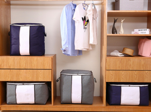 2 Pack Foldable Storage Bag Organizers Large Clear Window & Carry Handles Great for Clothes Blankets Closets Bedrooms