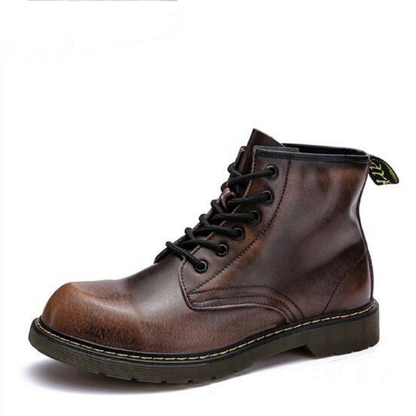 Round Toe Men Work boots Genuine leather Lace-Up Motorcycle boots British style Vintage Ankle boots