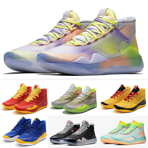 New Zoom KD 12 Basketball Shoes EYBL Peach Jam Dub Nation Wolf Grey Cement Grey High Quality Kevin Durant Trainer Sneakers Size 7-12
