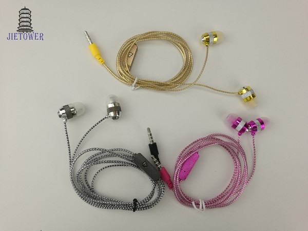 Factory direct deal wholesale shine glitter golden sliver pink earphones earcup headset with microphone mic crystal line 3 Colorcp-15 100pcs