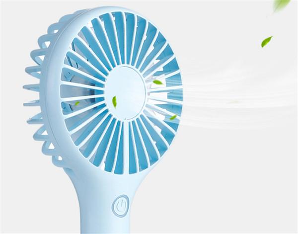 Handy Usb Fan Handle Mini Charging Fan Snowflake Handheld Portable Home Office Gift Retail Box 3 Color
