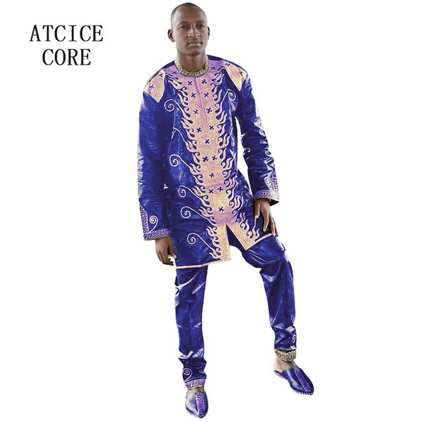 african bazin riche embroidery design man suit with pants two pcs one set, Red