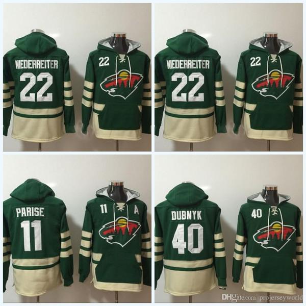 Mens 'Minnesota Wild Jerseys # 22 Nino Niederreiter # 11 Zach Parise # 40 Devan Dubnyk Hoodie Maglione Hockey Jersey Spedizione gratuita
