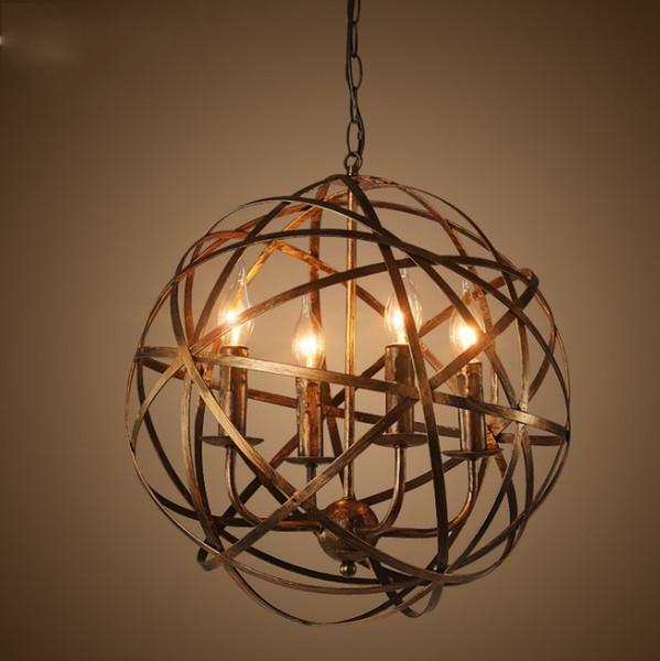 Americano retrò vento industriale cafe palla di ferro 4 * lampadari E14 lampadina Europeab loft creativo casa deco soggiorno lampadari LLFA