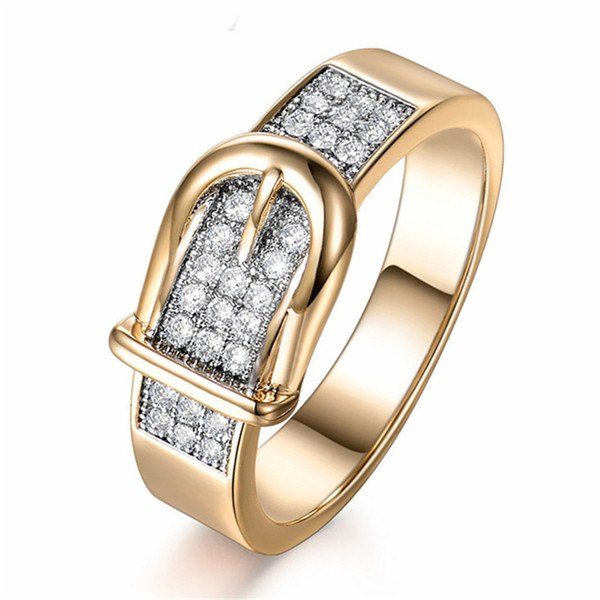 New Shiny Belt Ring for Women Small Crystals Gold Band Rings Unique Finger Rings Women Party Valentine's Day Gift