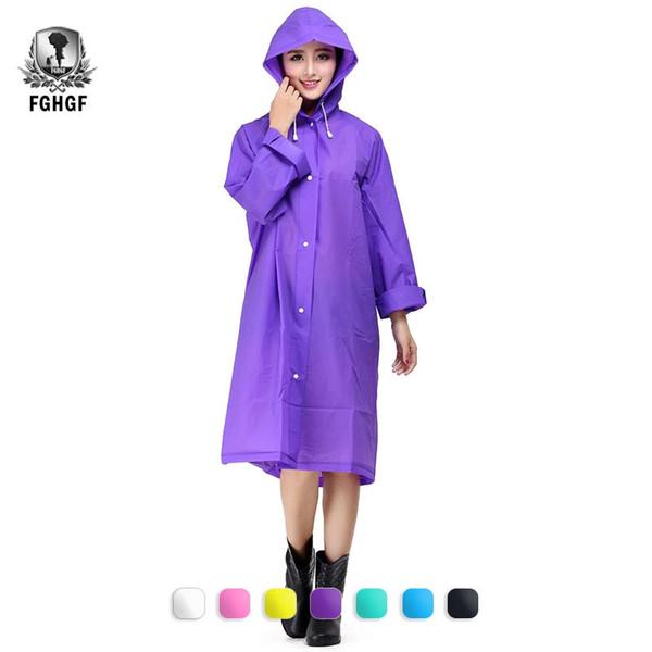 FGHGF Fashion Women EVA Transparent Raincoat Poncho Portable Light NOT Disposable Impermeable Rain Coat Adult Waterproof Gear #179552