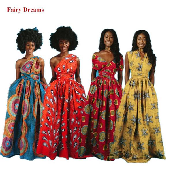 Abiti lunghi africani Vestiti tradizionali africani da donna Dashiki Ankara Fasciatura Maxi Abito multiuso Stampa abiti estivi