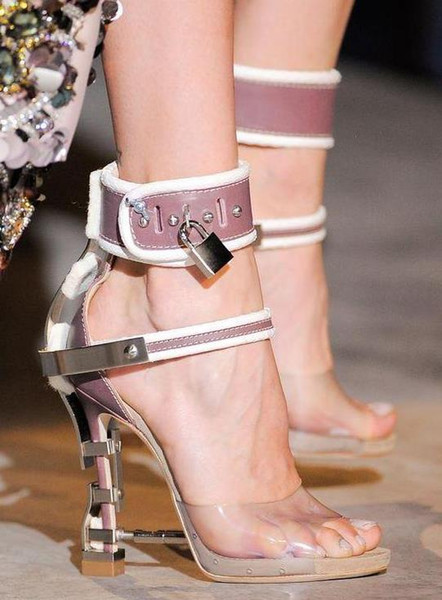 New Hot Sale Luxury Brand Rhinstone Lock Shoes Woman High Heels Sandals Sexy PVC Patchwork Summer Gladiator Sandals Women Shoes