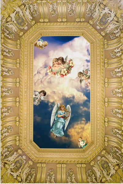 Europa Süße kleine Engel Europäische Decke 3d Deckengemälde Tapete