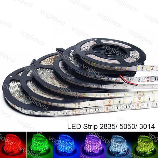 Led Şerit Işık SMD2835 3014 5050 DC12V 300LED 600LED Yuvarlak 2 tel Fiexble Işık Led Şerit Su Geçirmez Süper Parlak LED Işıkları DHL