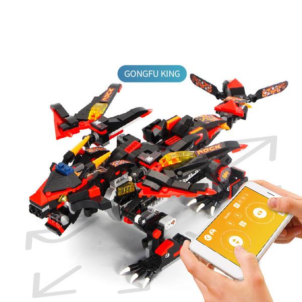 YX Kungfu Blocks Drago di edilizia, fai da te elettrico 2.4G RC giocattolo inerente allo sviluppo, controllo intelligente APP, per Kid 'compleanno' regali di festa di Natale