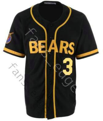 4a1bce862dd Bad News Bears Jersey Movie 1976 Chico's Bail Bonds 3 Kelly Leak Baseball  Black Color Stitched