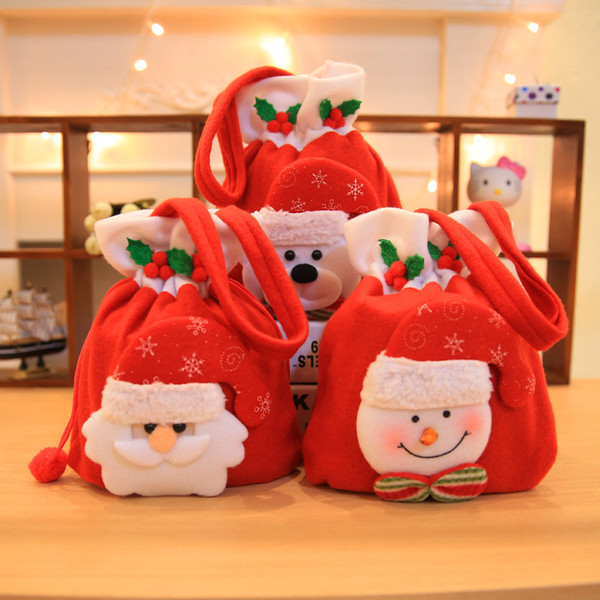 Christmas Decoration Flannel Candy Handbag Children's Kindergarten Red Shopping Mall Christmas Apple Gift Bag Cute Supplies