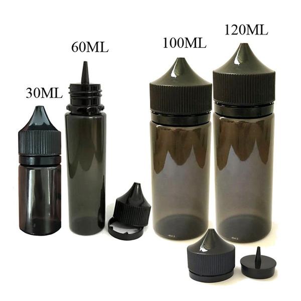 Hot 30ml 50ml 60ml 100ml 120ml PET Gorilla Black Bottle Plastic Dropper Empty Bottles with Childproof Caps for E Cig Vaporizer pen