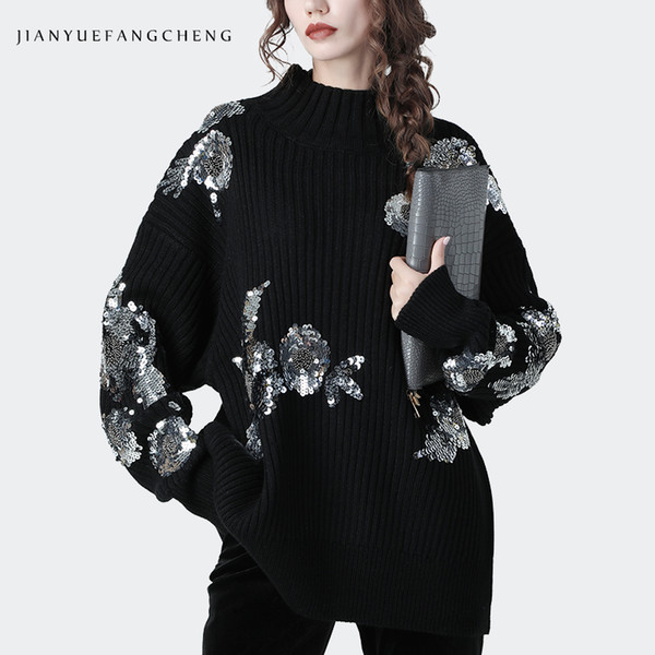 fashion bling sequined black sweater women warm thicken knitted fluffy sweaters long bat sleeved over sized winter pullover