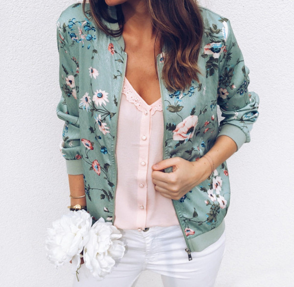 womens jacket womens coats zipper print floral casual women 2019 spring summer long sleeve loose bomber jacket coat o neck fashion
