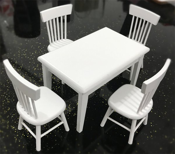 Simulation Miniature Wooden Toy 1:12 Dollhouse Miniature Furniture Wooden White Dining Table Chair Model Set Kids Good Gift
