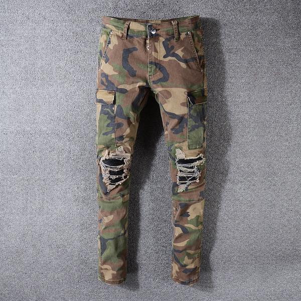 NOUVEAUX Famous jean Camo hommes nouveaux designer de mode d'été célèbre cycliste ripped Pantalons simple jean hip hop pour Jeans Denim Pantalons longs 2019