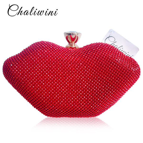 Sexy Girlfriend Red Lips Crystal Women Handbags Purse Metal Day Toiletry Bags Ladies Punk Package Shoulder Evening Clutch Bag D18110106