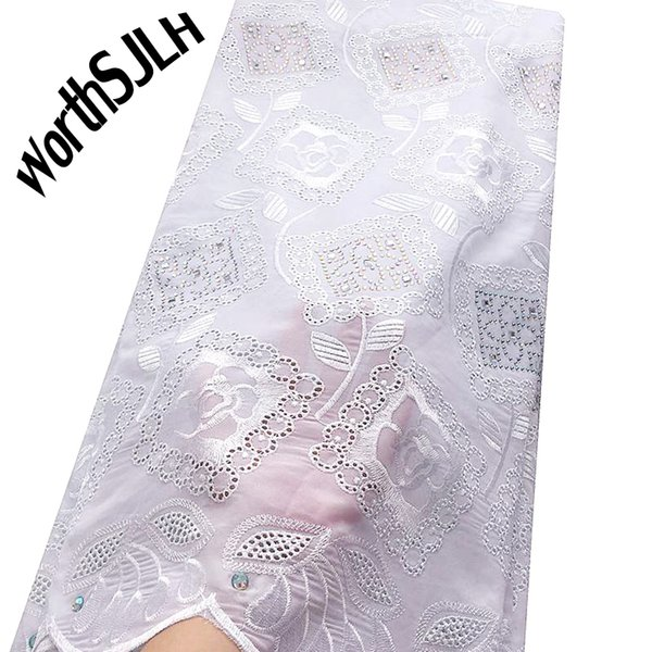 WorthSJLH White African Lace Fabric High Quality Fushia Pink African Swiss Lace Fabric Chiffon Voile Dry Cotton Lace For Woman