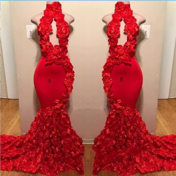 Rote Rosen-Meerjungfrau-Abschlussball kleidet neue reizvolle hohe Halsapplikationen-formale Abendkleider Sweep-Zug-heiße Verkaufs-Cocktailparty-Kleider Freies Verschiffen