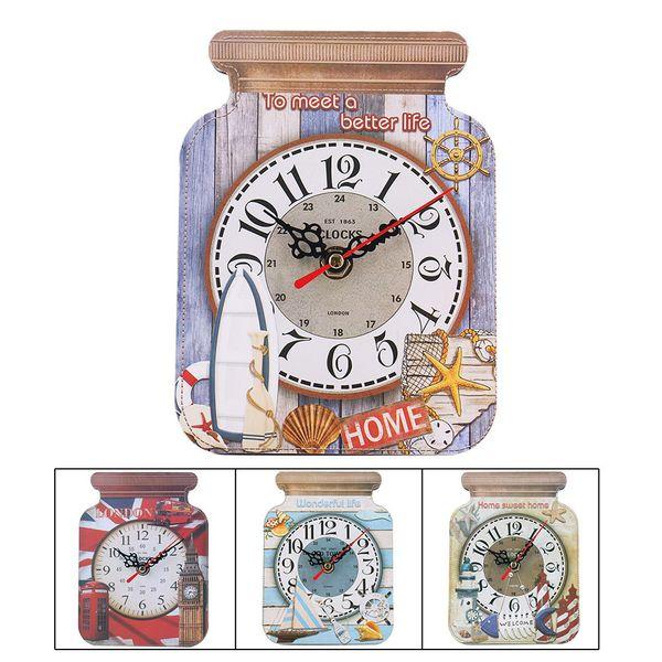Beautiful Wooden Drifting Bottle Clocks Creative Shell Seahorse Sailboat Pattern Clocks Fashion Drift Bottle Shape Desk Clock