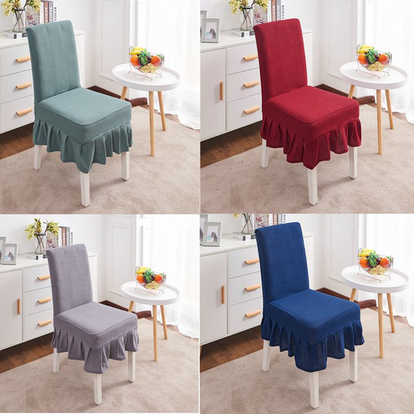 Thicken Chair Cover Decoration Simple Solid Plaid Dining Seat Covers Elastic Hotel Chair Mat Dress Cushion Restaurant Stool Set 12 Colors