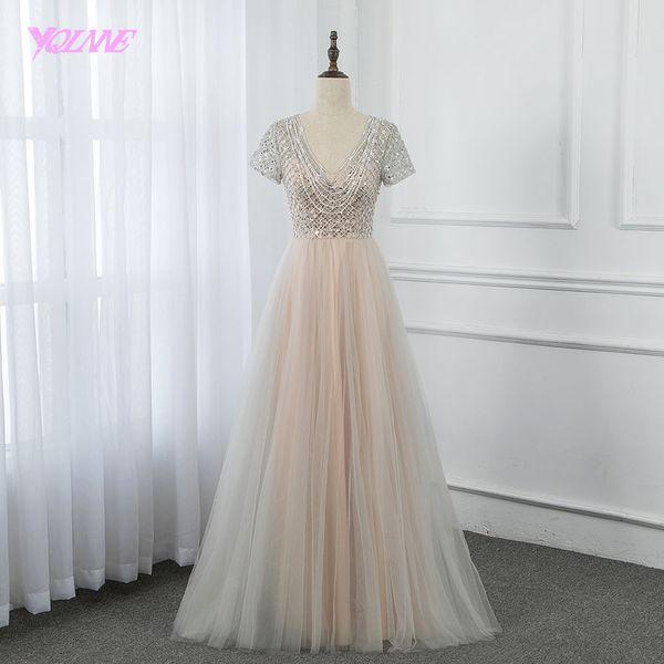 Cheap Nude Long Prom Dresses 2019 mangas Beading Zipper Voltar vestido formal elegante