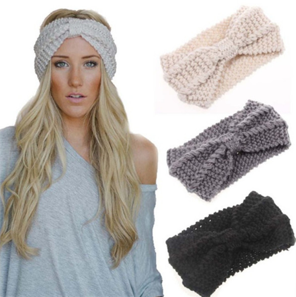 Winter Warmer Ear Knitted Headband Turban For Lady Women Crochet Bow Wide Stretch Hairband Headwrap Hair Accessories LE183