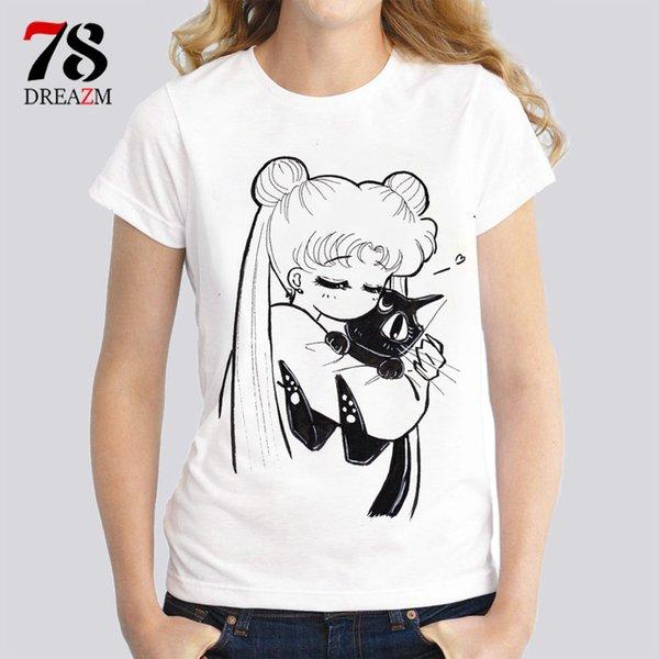 Sailor Moon T Shirts Women Female Fashion Print Cat Women T-shirt 2017 Summer Funny Tee Shirt Femme Harajuku Kawaii Tops Y190123