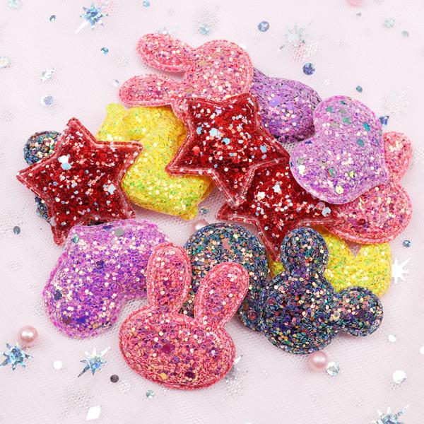 Elogio Arcos Glitter Tecido Patches Estrela Coração Lantejoula Apliques Acolchoados Patches para Roupas Adesivos DIY Grampos de Cabelo Ornamento 10 pcs