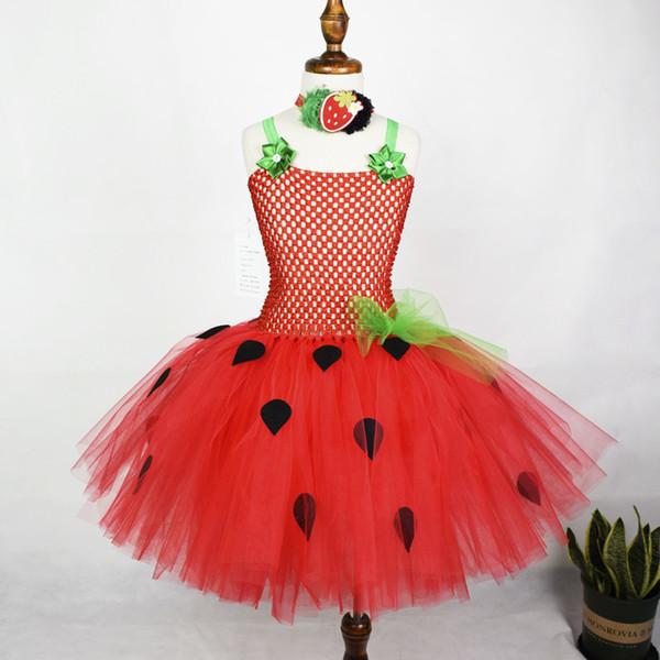 Red Strawberry Flowers Tutu Baby Girls Birthday Party Dress Kids Halloween Costume J190611
