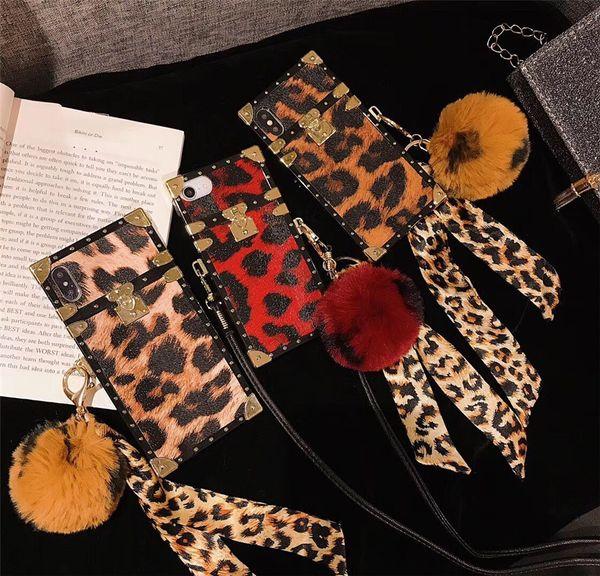 Роскошный животный леопард квадратный металлический силиконовый чехол для телефона для iphone 7 7 плюс 8 6 6 s плюс X XR XS MAX шнур для волос мяч коке