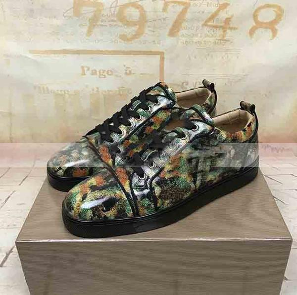 Designer Shoes Low Skate Marque Rouge Bas junior clouté Sneaker Vert foncé jet d'encre intégré cuir verni lisse de soirée de mariage de luxe robe