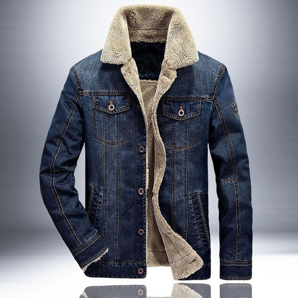 european american fashion winter jackets men retro blue velvet thick warm parka men outwear denim bomber jackets big size m-6xl