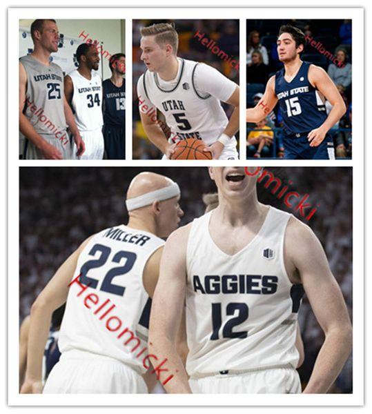 Personnalisé Utah State Aggies Basketball Jersey 5 Sam Merrill 23 Néhémie Queta 2 Sean Bairstow 13 Liam McChesney Brock Miller Utah State Jersey