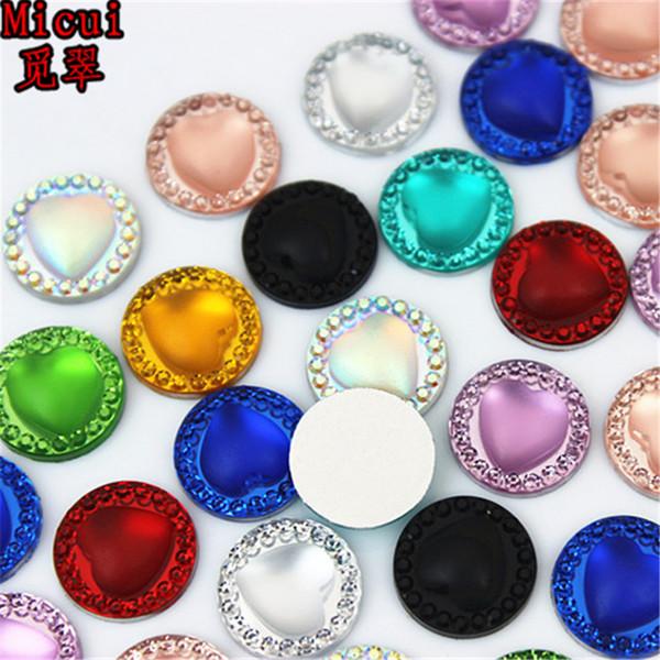 Micui 200 unids 12 mm nuevo corazón redondo Rhinestones de resina espalda plana apliques de cristal piedras que no cosen para decoraciones de boda ZZ791