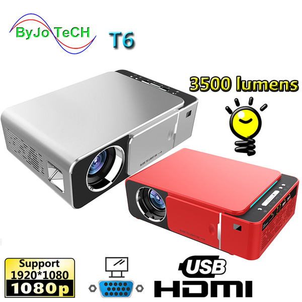 top popular 2019 New T6 1080P LED Projector 3500 lumens 1280x720 Short throw 3D projector Android 7.1 USB HDMI VGA AV Home Theater WIFI 2.4G 5G 2019