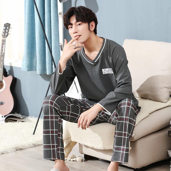 WAVMIT Pijamas para hombres Manga larga 100% Algodón Tallas grandes 4XL 5XL Conjuntos de pijamas para hombres Conjuntos de ropa de dormir Conjuntos de pijamas para padre Nihgtwear SH190905